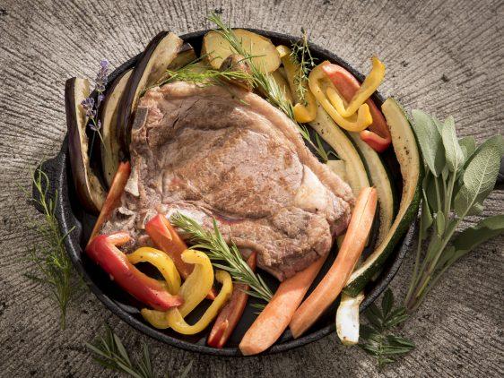 Dry aged Steak und non aged Gemüse